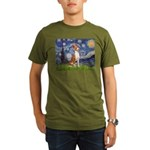 Starry Night & Basenji Organic Men's T-Shirt (dark