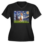 Starry Night & Basenji Women's Plus Size V-Neck Da