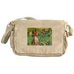 Basenji in Irises Messenger Bag