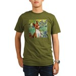 Basenji in Irises Organic Men's T-Shirt (dark)