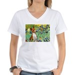 Basenji in Irises Women's V-Neck T-Shirt
