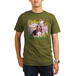 Basset in the Garden Organic Men's T-Shirt (dark)