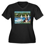 Sailboats & Basset Women's Plus Size V-Neck Dark T