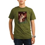 Seated Angel & Basset Organic Men's T-Shirt (dark)