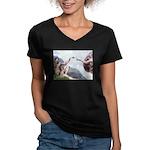 Creation of the Beagle Women's V-Neck Dark T-Shirt