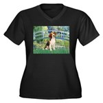 Bridge & Beagle Women's Plus Size V-Neck Dark T-Sh