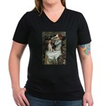 Ophelia & Beagle Women's V-Neck Dark T-Shirt