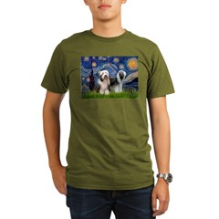 Starry / 2 Bearded Collies Organic Men's T-Shirt (