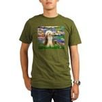 Lilies / Bearded Collie Organic Men's T-Shirt (dar