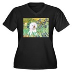 Irises and Bichon Women's Plus Size V-Neck Dark T-