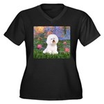 Lilies 4 / Bichon 1 Women's Plus Size V-Neck Dark