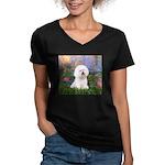Lilies 4 / Bichon 1 Women's V-Neck Dark T-Shirt