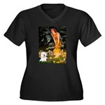 Fairies & Bichon Women's Plus Size V-Neck Dark T-S