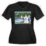 Sailboats (1) Women's Plus Size V-Neck Dark T-Shir
