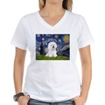 Starry Night Bichon Women's V-Neck T-Shirt