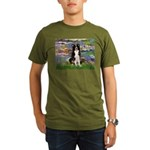 Lilies & Border Collie Organic Men's T-Shirt (dark