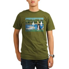 Sailboats & Border Collie Organic Men's T-Shirt (d