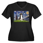 Starry Night Border Collie Women's Plus Size V-Nec