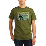Irises & Boston Ter Organic Men's T-Shirt (dark)