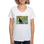 Irises & Boston Ter Women's V-Neck T-Shirt