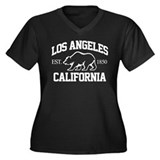 Los Angeles Women's Plus Size V-Neck Dark T-Shirt