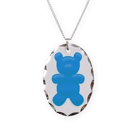 Blue Gummi Bear Necklace Oval Charm