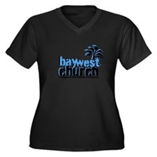 Cute Church bay Women's Plus Size V-Neck Dark T-Shirt