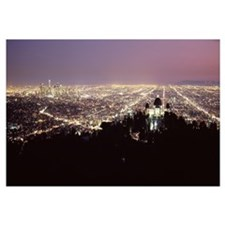 Aerial view of a cityscape Griffith Park Observato