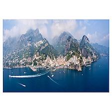 Aerial view of towns Amalfi Atrani Amalfi Coast Sa
