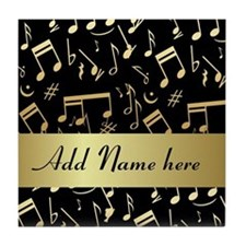 designer gold Musical notes Tile Coaster