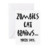Zombies Eat Brains Greeting Cards (Pk of 20)