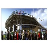 Rugby fans outside a stadium Murrayfield Stadium M