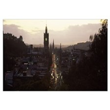 High angle view of a city Princes Street Edinburgh