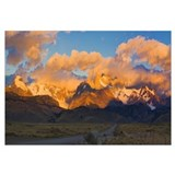 Clouds over mountains at sunrise Monte Fitz Roy Ar