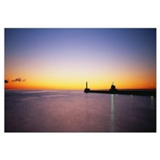 Silhouette Of A Lighthouse, Duluth, Minnesota