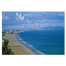 High angle view of the beach, Santa Monica, Califo