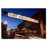 Signboard over a road at dusk, Fort Worth Stockyar