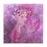 Pink Ribbon Mermaid Tile Coaster
