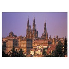 Cathedral in a cityscape, Santiago De Compostela,