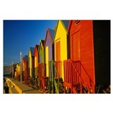 Beach huts in a row, St James, Cape Town, South Af