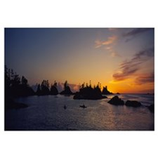 Silhouette of kayaks in the sea, Clayoquot Sound,