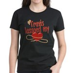 Travis Lassoed My Heart Women's Dark T-Shirt