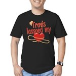 Travis Lassoed My Heart Men's Fitted T-Shirt (dark