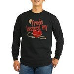 Travis Lassoed My Heart Long Sleeve Dark T-Shirt