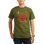 Travis Lassoed My Heart Organic Men's T-Shirt (dar