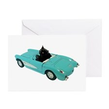 Cat Driving Car Greeting Cards (Pk of 10)