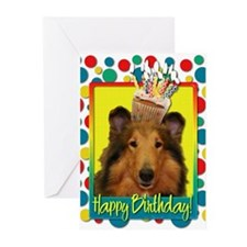 Birthday Cupcake - Collie Greeting Cards (Pk of 20