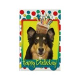 Birthday Cupcake - Collie Rectangle Magnet
