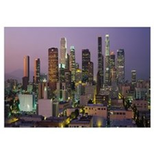 Skyscrapers lit up at dusk, City Of Los Angeles, C