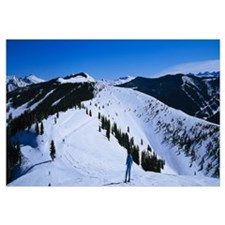 High angle view of skiers skiing, Vail Ski Resort,